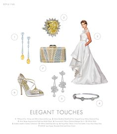 Classic Elegance ~ Canary yellow and white diamonds are two colors that make the bride stand out. Adding touches of gold and silver are understated yet simple and give the bride her chance to shine! #yellow #diamonds #librideandgroom #gold #silver #clutches #florals
