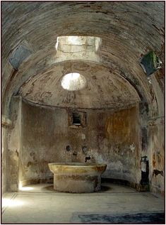 Frigidarium at the Forum Baths, Pompei, Italy, province of Naples Campania Ancient Ruins, Ancient Rome, Ancient Art, Ancient History, Pompeii Italy, Pompeii And Herculaneum, Roman Architecture, Ancient Architecture, Natural Disasters
