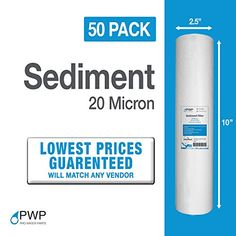 """50-Pack of 1 Mic Wound String Sediment Water Filter Cartridges 10/""""x2,5/"""" for RO"""