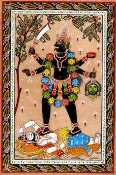 Lord Shiva Stops Fierce Kali Madhubani Art, Madhubani Painting, Indian Artwork, Indian Paintings, Kali Sticks, Navratri Wallpaper, Kalamkari Painting, Ganesha Painting
