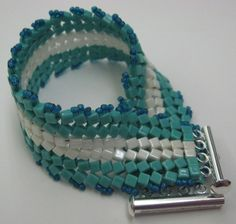 Herringbone Squared Bracelet in turquoise and ivory designed by Cheryl Erickson.  See other projects at www.artisticbead.com.