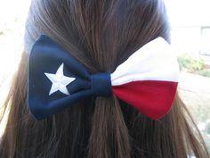 Texas Flag Hair Bow by ASETX on Etsy, $6.00. @Anna Totten Totten Totten Totten Totten Brewer
