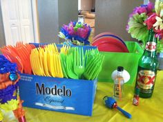 Drank a lot of Mexican beer but I think the centerpieces and plasticware holders came out great for my hubby's 40th birthday fiesta!
