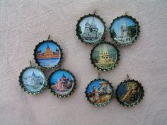I ♥ Budapest  bottle cap pendants