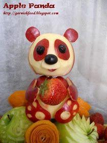 panda apple sculpture
