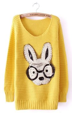 Yellow Long Sleeve Rabbit Embellished Pullovers Sweater US$33.39