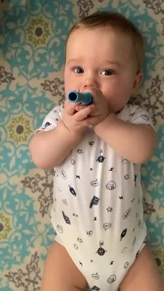 """Carter loves his teething tube!"" ~Erin I. Cute Horse Pictures, Baby Pictures, Cute Funny Babies, Cute Kids, Baby Shower Gifts, Baby Gifts, Baby Teething Remedies, Baby Boy Knitting Patterns, Baby Shower Decorations For Boys"