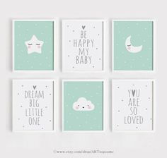 50 x 70 Printable Nursery wall Art Set of 6 Poster Baby room Mint blue decor Quote Dream big little Baby Room Art, Kids Room Wall Art, Baby Boy Rooms, Baby Room Decor, Mint Nursery, Nursery Room, Nursery Wall Art, Panel Wall Art, Wall Art Sets