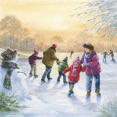Winter Christmas Scenes, Cozy Christmas, Christmas Pictures, Vintage Christmas, Christmas Cards, Christmas Artwork, Christmas Paintings, Christmas Floral Arrangements, Reborn Toddler Dolls