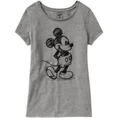 Old Navy Womens Disney Mickey Mouse Tees - Heather gray (45 BRL) ❤ liked on Polyvore featuring tops, t-shirts, shirts, blusas, women, graphic tees, old navy shirts, fitted t shirts, graphic print t shirts and mickey mouse shirts