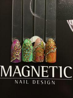 Gel, Nail Art, Magnetic Nails, Rhinestone, Maga Nails