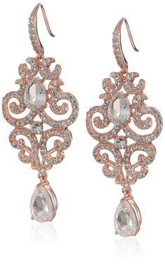 Rose Gold Plated Sterling Silver Pear Shape Created Pink Sapphire 9x6mm and 8x6mm and Round Created White Sapphire 3mm Dangle Lever Back Earrings. Imported.