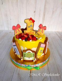 Торт без мастики с пряниками 1сентября