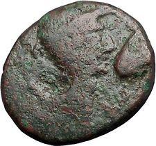 AUGUSTUS & JULIUS CAESAR Portrait Thessalonica Macedonia 28BC Roman Coin i55826