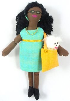 African American Girl Doll With Dog In Purse by JoellesDolls on Etsy