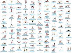 yoga poses chart with Sanskrit names