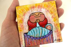 """""""Jizo Says Bless this Child with Love,"""" 3"""" x 3"""" mini original acrylic painting. https://www.etsy.com/listing/210707053/jizo-painting-mini-original-jizo-says?ref=shop_home_active_3"""