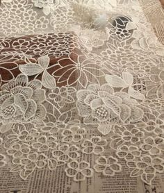 Ivory Organza Lace Fabric with Embroidered Rose retro door LaceFun