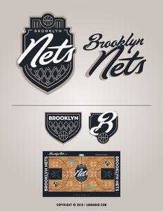 Rebranding & Expanding The NBA on Behance Basketball Logo Design, Sports Graphic Design, Minimal Logo Design, Logo Concept, Concept Art, Sports Graphics, Brooklyn Nets, Geometric Logo, Badge Design