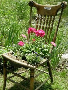 Old chair planter ideas