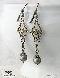 Dusky Green Art Nouveau Earrings Sage Green Pearl by Amaradorn