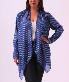 Look at this #zulilyfind! Royal Blue & Silver Stripe Drape Open Cardigan - Plus #zulilyfinds