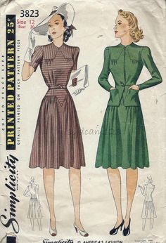Simplicity 3823 © 1941 Vintage 1940s Flared Day Dress and Single Button Jacket
