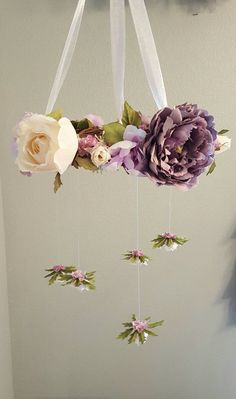 Custom silk flower mobile, bohemian nursery, woodland nursery