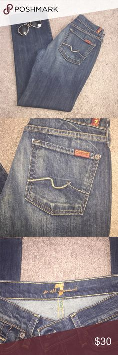 """7 For All Mankind Medium Wash. Boot Cut. 98% Cotton, 2% Lycra. Size 30 or 10. Inseam 30"""", Front Rise 6.5"""", Waist 15.5"""". Some wear, good condition. 7 For All Mankind Jeans Boot Cut"""
