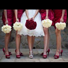 Bridesmaid dresses and shoes from David's Bridal