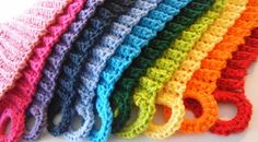 Apple Blossom Dreams: Stash-Buster #6 - A Rainbow of Dishcloths - We love these because they have a built-in germ defense system...you see... they can be rinsed and wrung out and then the loop fits on the faucet to hang dry.