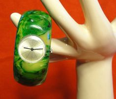 Rare Swirly Green Bakelite Clamper Bracelet Watch