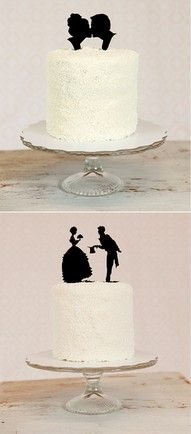 Silhouette toppers. Made out of sugar, the individual bride or groom could differentiate between different cupcake flavors!