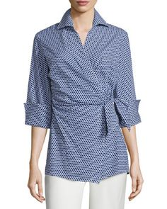 Honeycomb-Dot Wrap Blouse, Navy/White by Finley at Neiman Marcus.