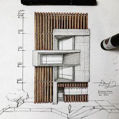 Interesting Find A Career In Architecture Ideas. Admirable Find A Career In Architecture Ideas. Sketchbook Architecture, Art Et Architecture, Architecture Concept Drawings, Architecture Details, Architecture Portfolio, Design Exterior, Facade Design, Wood Concrete, Building Design