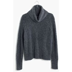 MADEWELL Roundtrip Turtleneck Sweater ($88) ❤ liked on Polyvore featuring tops, sweaters, hthr shadow, drapey top, turtle neck tops, fuzzy sweater, madewell i madewell sweaters