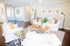 I absolutely loved this episode because it incorporated beach accents. The  wood above the bed and the white shutters gave a crisp look to this  previously outdated ranch. Take a look!  Images found here  Images found here
