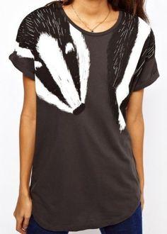 Grey Short Sleeve Shoulder Badger T-Shirt