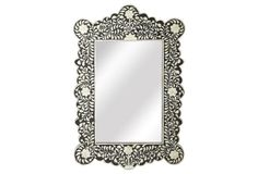 Veive Bone Inlay Wall Mirror, Black