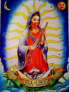 """Larson, Jeff. Our Lady of Struggle aka Madre de Tierra y Libertad. 2011.  """"Our Lady of Struggle"""" is a tattoo style watercolor piece that was inspired by the uprising of the Zapatistas in Chiapas and a suggestion by a friend. The original art was auctioned/sold at a fundraiser."""
