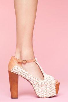 JEFFREY CAMPBELL Foxy Crochet ivory #shoes
