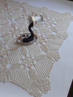 Items similar to Square doily, Crochet table decor on Etsy Crochet Borders, Crochet Diagram, Crochet Motif, Hand Crochet, Crochet Lace, Crochet Patterns, Blue Tablecloth, Crochet Tablecloth, Lace Doilies