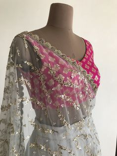 Hot pink brocade lehenga blouse with grey sheer net dupatta. Click on image to see price. #Frugal2Fab