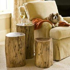 Tree stump end tables