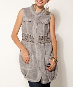 Look at this #zulilyfind! Silver Double-Breasted Linen Sleeveless Tunic by Sand Studio #zulilyfinds