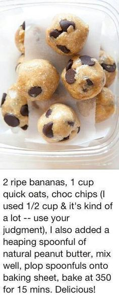 """Don't look like the pic at all. Healthy """"cookies."""" I used three bananas, and the scoop of nut butter was very important. Tried some without it, and they weren't close to as good. I used about 3/4 c. chocolate chips."""