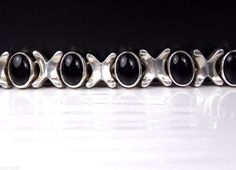 HEAVY Taxco Sterling Silver Black Onyx Panel Station Link Mexico Link Bracelet #Unknown