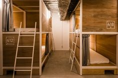 Tokyo digs: It& hosteling, but not as we know it Bunka Hostel Tokyo: Bunka& bunk-bed like sleeping quarters. The post Tokyo digs: It& hosteling, but not as we know it appeared first on Travel. Bunk Beds With Stairs, Kids Bunk Beds, Loft Spaces, Small Spaces, Stair Plan, Sleeping Pods, Bunk Rooms, Bunk Bed Designs, Hotel Interiors
