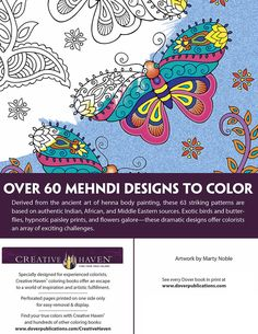 Creative Haven MEHNDI DESIGNS ABOUT THIS BOOK Collection Coloring Book Welcome to Dover Publications