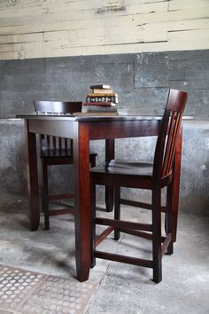 Contemporary Gathering Table set for two book-lovers #peacefulvalleyfurniture #handcrafted